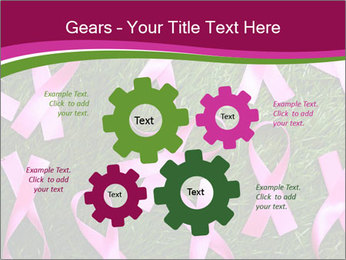 Many pink ribbon on green grass PowerPoint Template - Slide 47