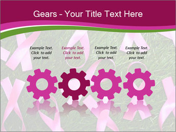 Many pink ribbon on green grass PowerPoint Template - Slide 48