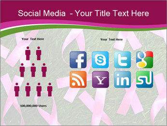 Many pink ribbon on green grass PowerPoint Template - Slide 5