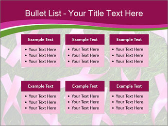 Many pink ribbon on green grass PowerPoint Template - Slide 56