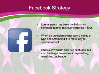 Many pink ribbon on green grass PowerPoint Template - Slide 6