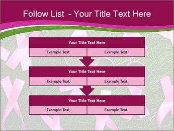 Many pink ribbon on green grass PowerPoint Template - Slide 60