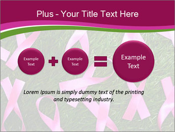 Many pink ribbon on green grass PowerPoint Template - Slide 75