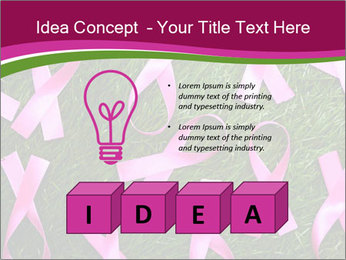 Many pink ribbon on green grass PowerPoint Template - Slide 80