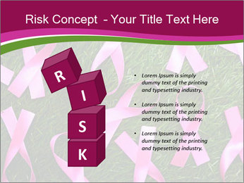 Many pink ribbon on green grass PowerPoint Template - Slide 81