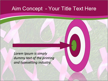 Many pink ribbon on green grass PowerPoint Template - Slide 83