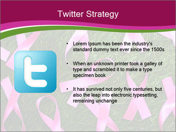 Many pink ribbon on green grass PowerPoint Template - Slide 9