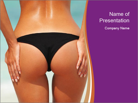 Sexy woman buttocks on the beach PowerPoint Templates