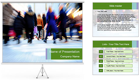 Commuters in motion blur PowerPoint Template
