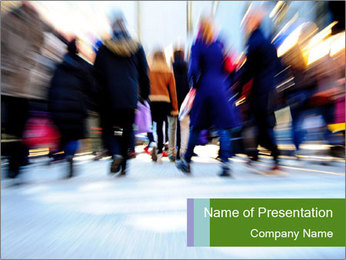 Commuters in motion blur PowerPoint Template - Slide 1