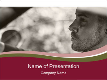 Elegant young handsome man and convertible car PowerPoint Template