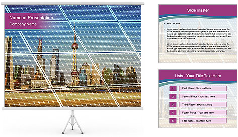 Ecological energy renewable solar panel plant PowerPoint Template