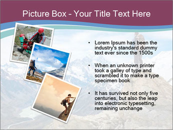 Hiker at the top of a rock PowerPoint Templates - Slide 17