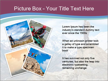 Hiker at the top of a rock PowerPoint Templates - Slide 23