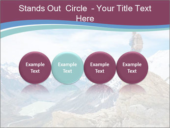 Hiker at the top of a rock PowerPoint Templates - Slide 76