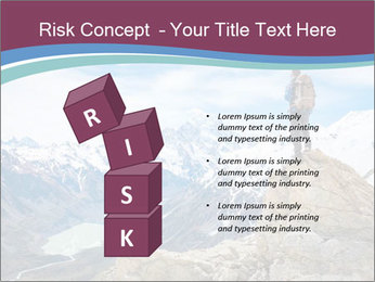 Hiker at the top of a rock PowerPoint Templates - Slide 81