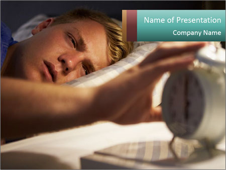 Teenage Boy Waking Up PowerPoint Template