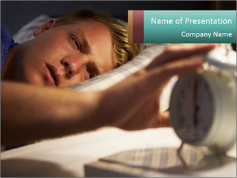 Teenage Boy Waking Up PowerPoint Template - Slide 1