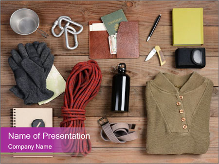 Overhead view of hiking gear laid out for a backpacking trip PowerPoint Template