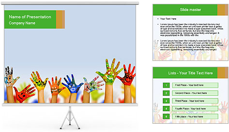 Image of human hands PowerPoint Template
