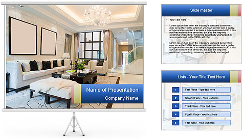 Luxury living room with nice decoration PowerPoint Template