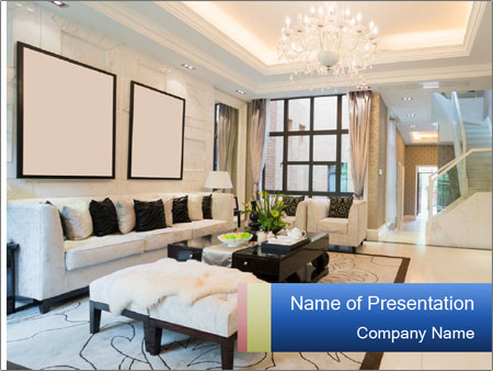 Luxury living room with nice decoration PowerPoint Templates