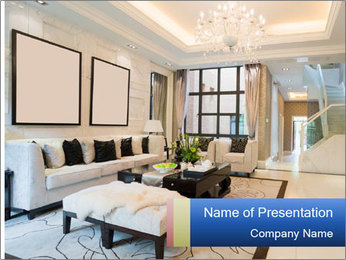 Luxury living room with nice decoration PowerPoint Template - Slide 1