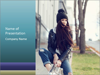 Portrait of a beautiful girl hipster PowerPoint Template