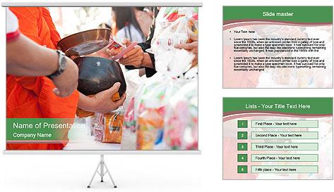 Monk receiving food PowerPoint Template