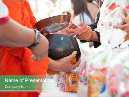 Monk receiving food PowerPoint Template