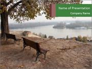 Empty benches above the river PowerPoint Template