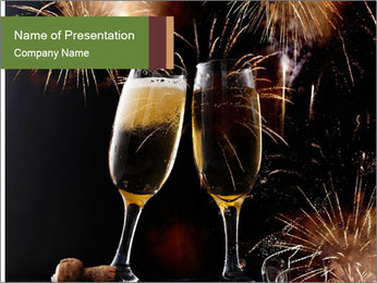 Two glasses of champagne PowerPoint Templates - Slide 1