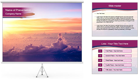 Airplane in the sky PowerPoint Template