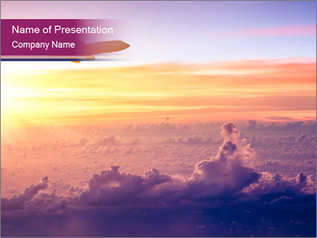 Airplane in the sky PowerPoint Templates