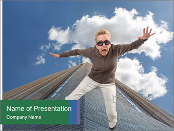 A woman falling PowerPoint Template - Slide 1