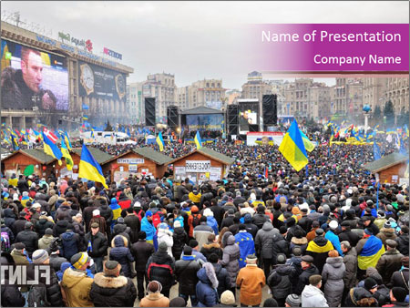 Independence square  proeuropean meeting on 2013 in Kiev, Ukraine. PowerPoint Templates