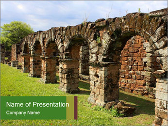 Jesuit mission Ruins PowerPoint Template - Slide 1