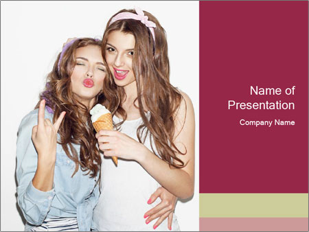 Pretty brunette girls PowerPoint Template