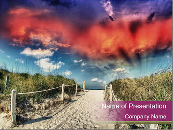 Path through sand dunes on a beach at sunset PowerPoint Template - Slide 1