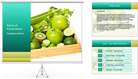 Fresh green vegetables and fruits PowerPoint Template