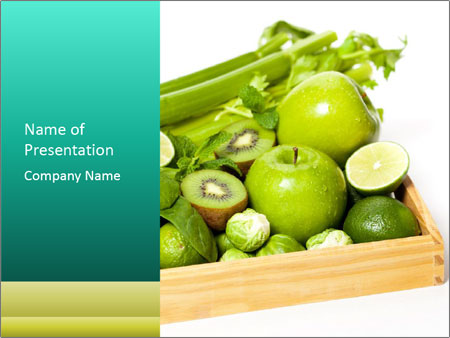 Fresh green vegetables and fruits PowerPoint Templates