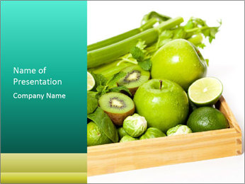 Fresh green vegetables and fruits PowerPoint Template - Slide 1