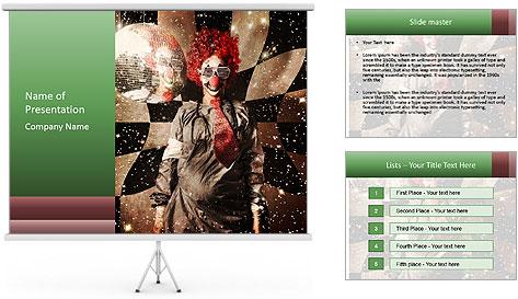 Crazy dancing disco clown PowerPoint Template