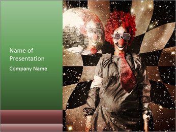 Crazy dancing disco clown PowerPoint Template