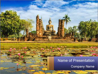 Buddha Statue at Wat Mahathat in Sukhothai Historical Park PowerPoint Template - Slide 1