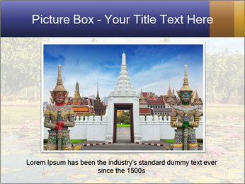 Buddha Statue at Wat Mahathat in Sukhothai Historical Park PowerPoint Templates - Slide 15