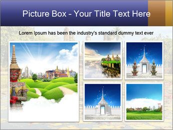 Buddha Statue at Wat Mahathat in Sukhothai Historical Park PowerPoint Template - Slide 19