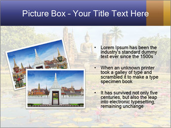 Buddha Statue at Wat Mahathat in Sukhothai Historical Park PowerPoint Template - Slide 20