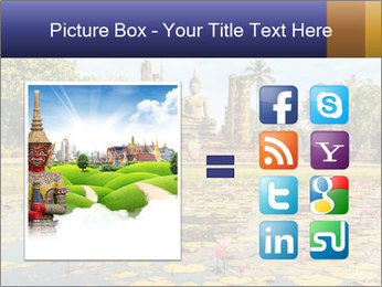 Buddha Statue at Wat Mahathat in Sukhothai Historical Park PowerPoint Template - Slide 21