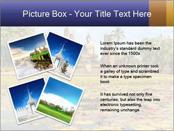 Buddha Statue at Wat Mahathat in Sukhothai Historical Park PowerPoint Templates - Slide 23